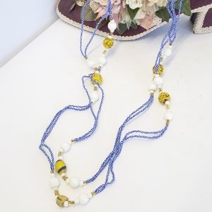 Amazing Glass Beaded Long Statement Necklace
